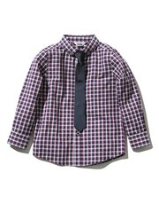 Purple check shirt and tie set