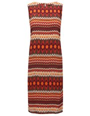 Ikat stripe print shift dress