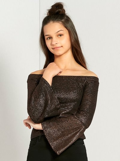 Teens' metallic bardot flare sleeve top