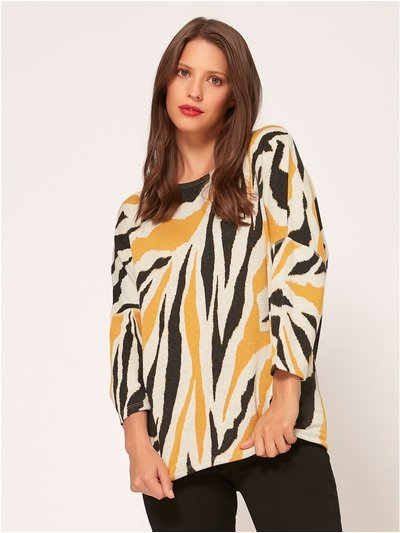 Animal print drop shoulder top
