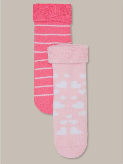 Pink heart and stripe grip sole socks two pack