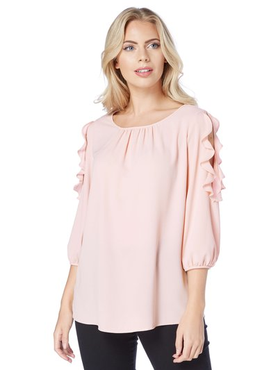 Roman Originals cold shoulder frill detail top