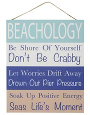 Beachology hanging wall sign