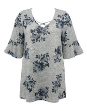 Plus floral print tunic top
