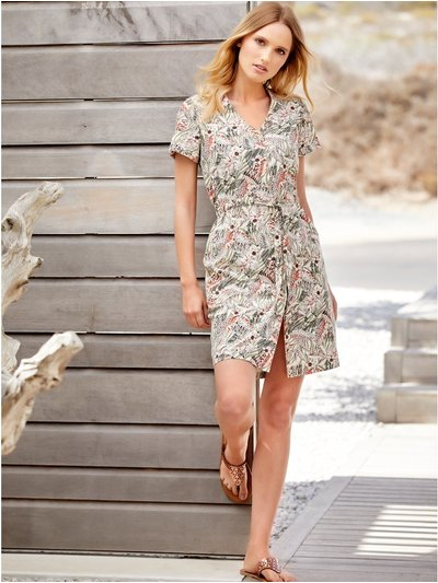 Petite floral leopard drawstring tie dress