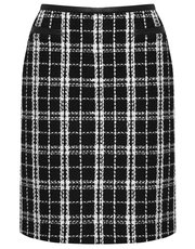 Check boucle knit skirt