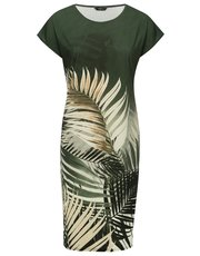 Tropical leaf print tunic dress