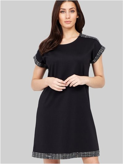 Izabel sequin trim shift dress