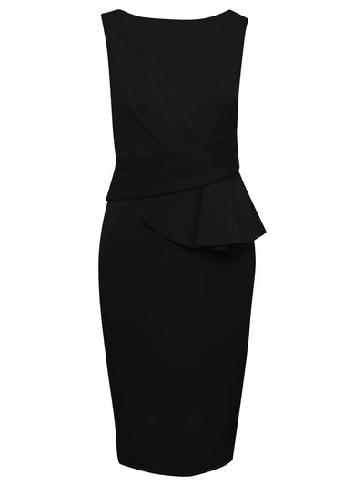 GLAMOUR black ruffle pencil dress