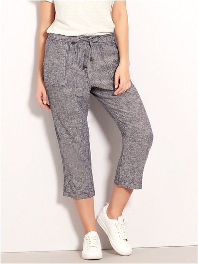 Petite crosshatch cropped linen trousers