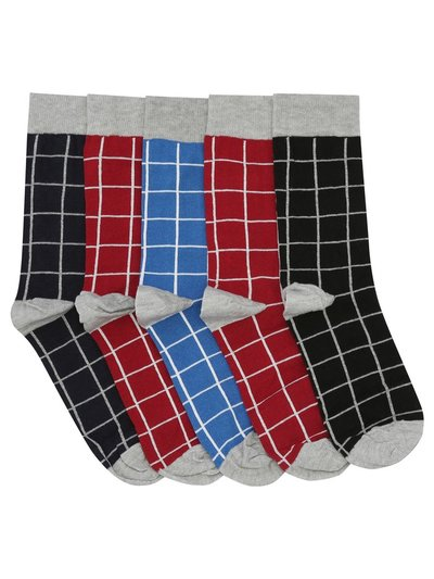 Square check socks five pack