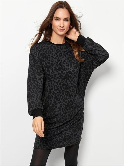 Leopard print sweat dress