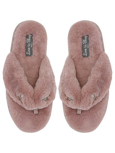 Faux fur diamante trim slider slippers