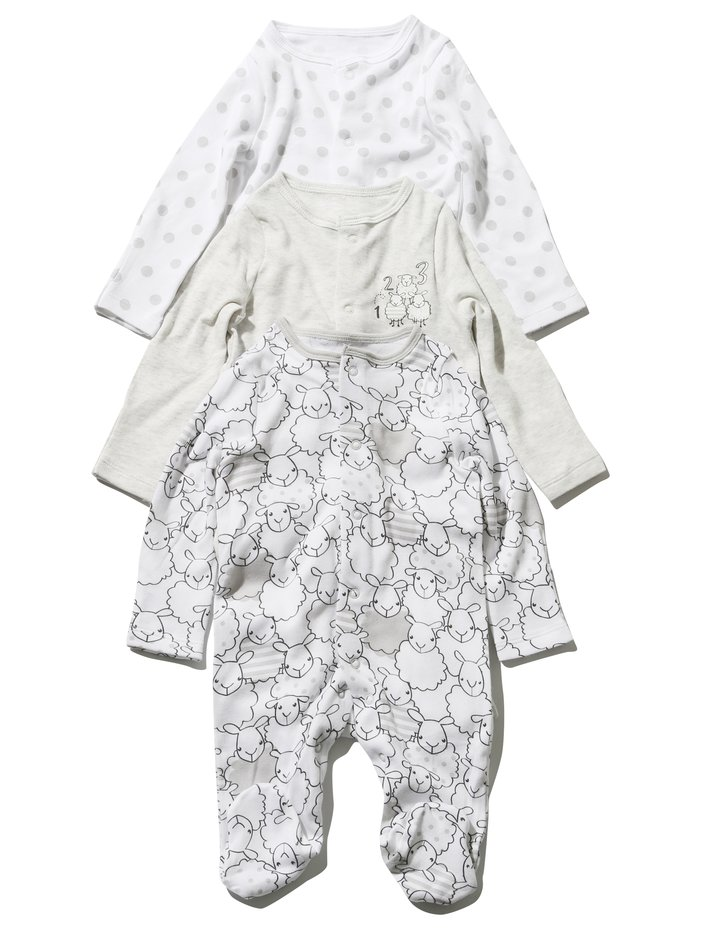 958a61501 Sheep Sleepsuit Three Pack | Baby Baby Essentials | M&Co