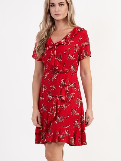 Izabel leaf print wrap dress