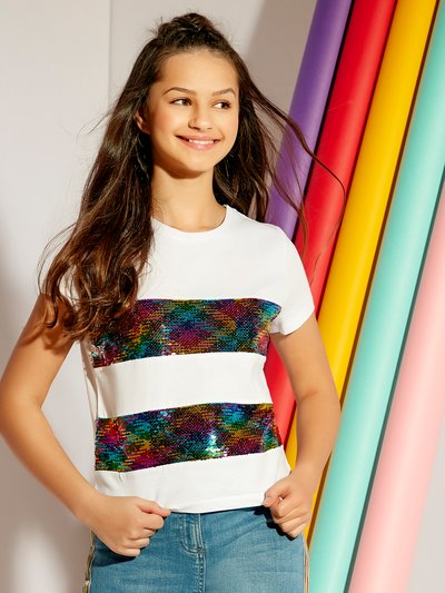 Teens' two way sequin rainbow t-shirt