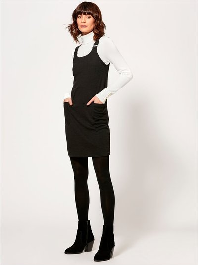 Textured pocket front pinafore dress