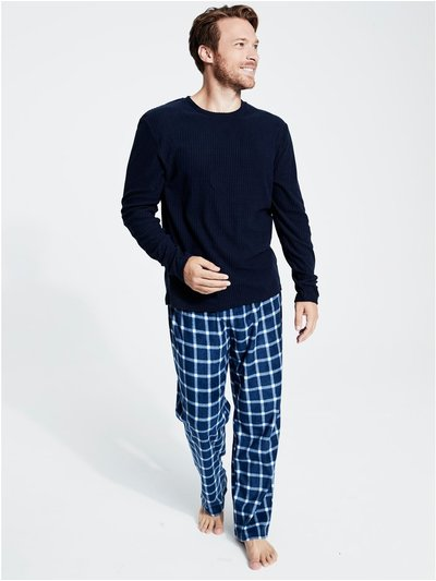 Blue check fleece pyjamas