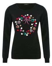 Sequin wreath Christmas jumper