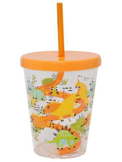 Dinosaur print cup with straw