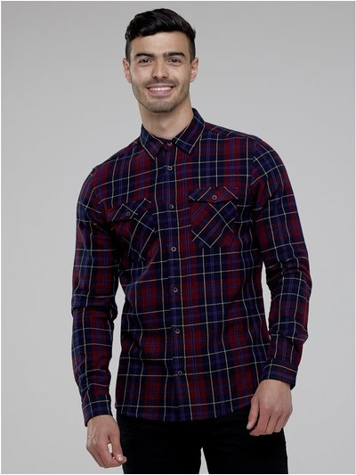 Double pockets checked shirt