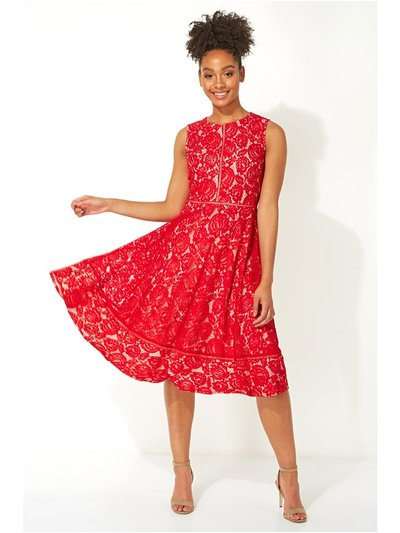 Roman Originals fit and flare lace midi dress