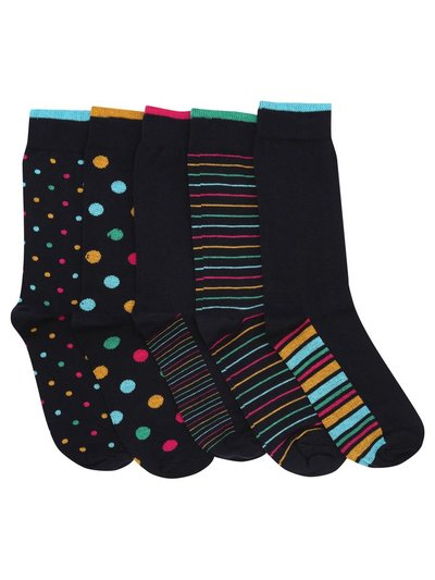 Stripe and spot socks five pair pack