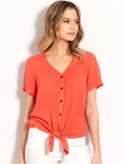 Petite button tie front top