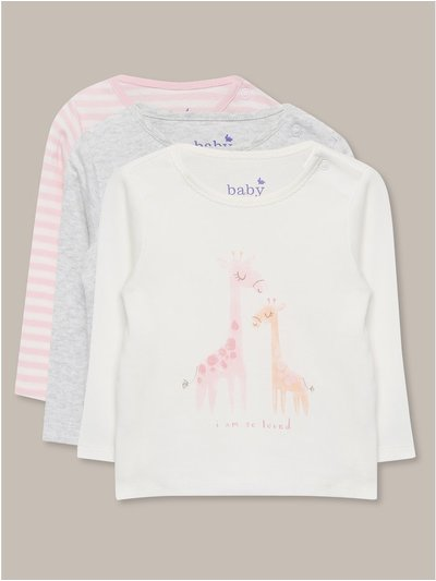 Giraffe stripe t-shirts three pack (Newborn-18mths)