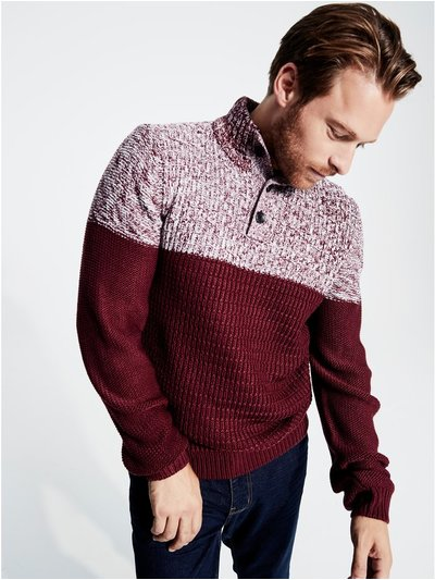 Button neck colour block jumper