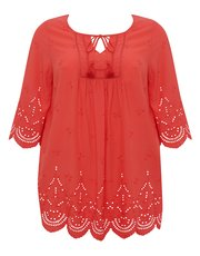 Plus embroidered schiffli lace peasant blouse