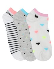 Stripe spot and heart trainer socks three pack