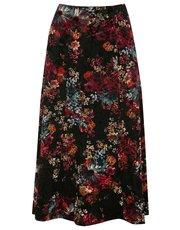 Floral flocked A line skirt
