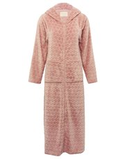 Spot fleece full length zip front dressing gown
