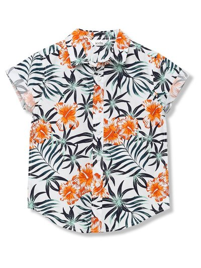 Floral leaf print shirt (3-13yrs)