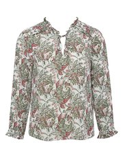 Petite frill neck floral top