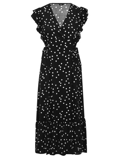 Petite polka dot tiered midi dress