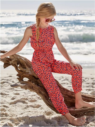 Neon animal print jumpsuit