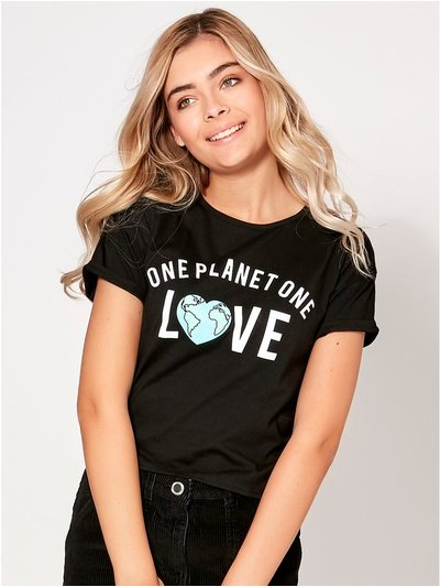 Teen one planet one love slogan t-shirt