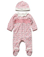 Floral smocked sleepsuit and hat set