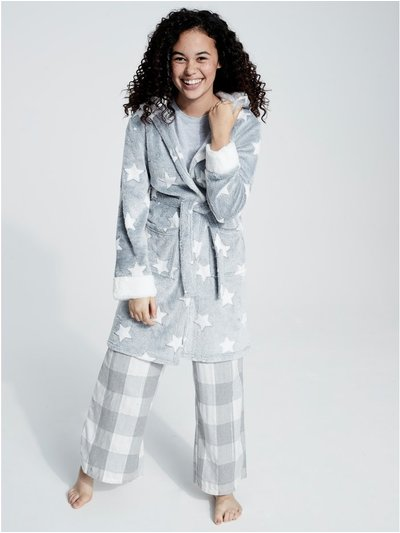 Teen star print hooded fleece dressing gown