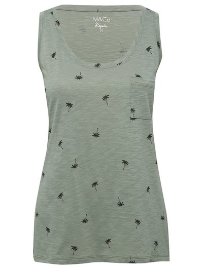 Palm print scoop neck vest top