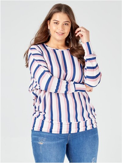Blue Vanilla Curve stripes waistband top