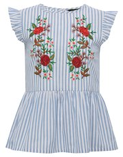 Teens' embroidered stripe frill sleeve top