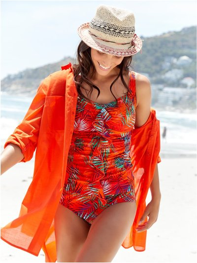 Orange palm frill front tankini top