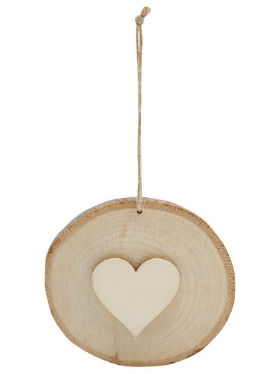 Wood hanging heart decoration