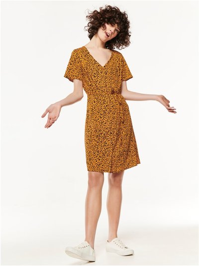 Button front leopard print dress