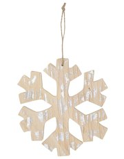 Wooden hanging snowflake decoration