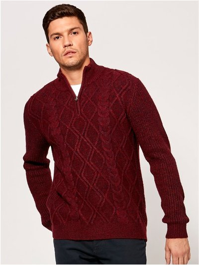 Cable knit zip neck jumper