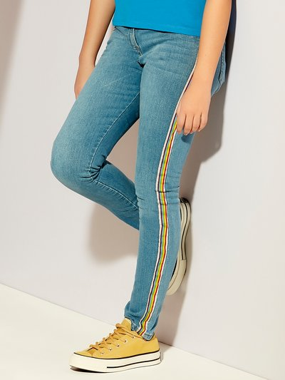 Teens' rainbow stripe skinny jeans